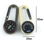 Карабин металический с компасом и термометром
