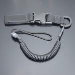 Страховочный шнур комбинированный с D-кольцом фастексом черный