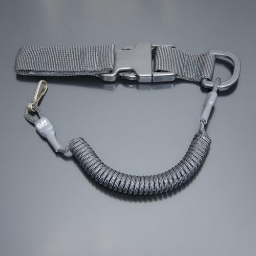 Страховочный шнур под карабины с D-кольцом фастексом и карабином черный