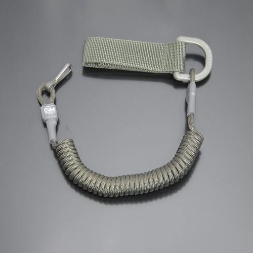 Страхувальний шнур під карабіни з D-кільцем та карабіном оліва