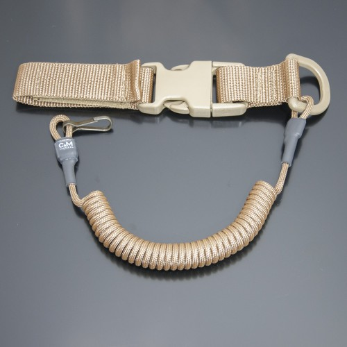 Страховочный шнур под карабины с D-кольцом фастексом и карабином койот